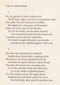 Keats Melancholy